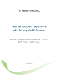 New Brunwickers' experiences with primary health services