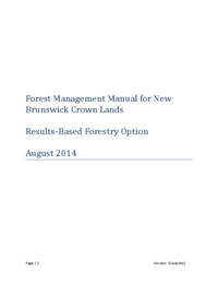 Forest Management Manual for New Brunswick Crown Lands
