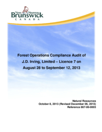 Forest Operations Compliance Audit of J.D. Irving, Limited –Licence 7