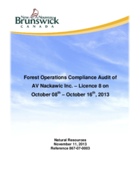 Forest Operations Compliance Audit of AV Nackawic Inc. –Licence 8