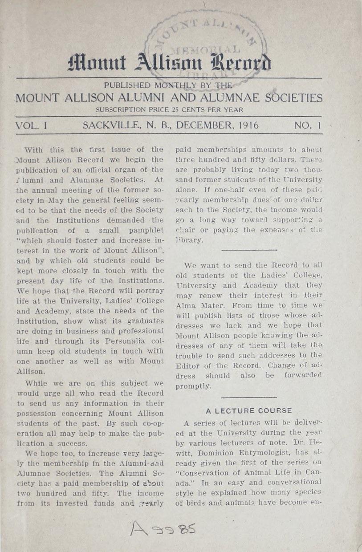Mount Allison Record